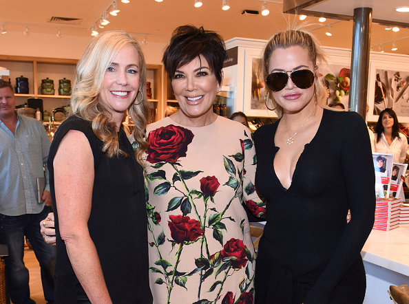 CALABASAS, CA - AUGUST 29:  President of Williams-Sonoma Janet Hayes, Kris Jenner and Khloe Kardashian attend Williams-Sonoma and Kris Jenner Get Cooking at Grand Opening of store at The Commons at Calabasas on August 29, 2015 in Calabasas, California.  (Photo by Vivien Killilea/Getty Images for Caruso Affiliated)