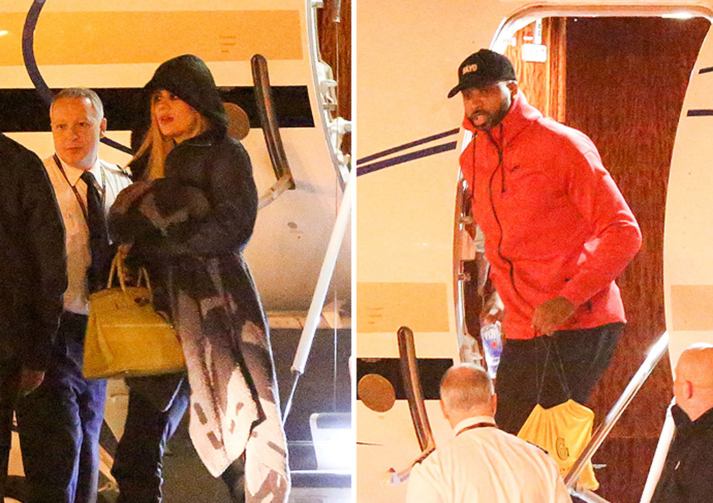Khloe and Tristan Thompson arrive at Los Angeles via a private plane