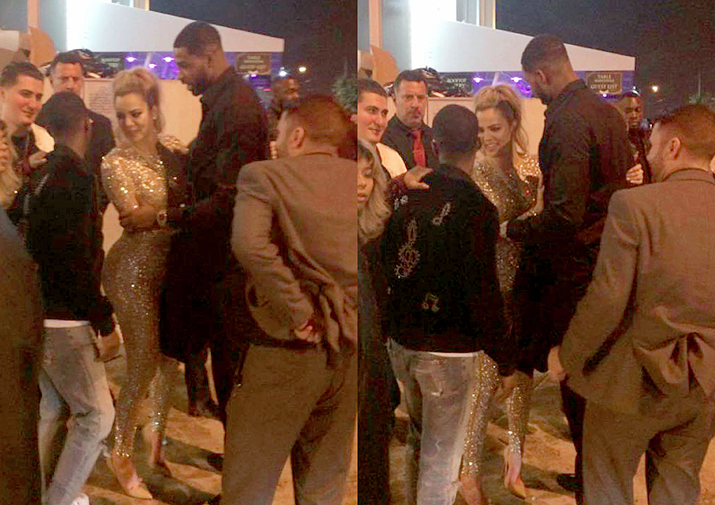 Khloé Kardashian and Tristan Thompson at E11EVEN nightclub in Miami for New Year Eve