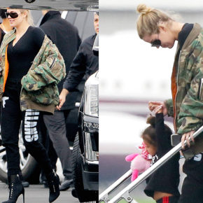 Khloe Kardashian at Van Nuys airport with North West