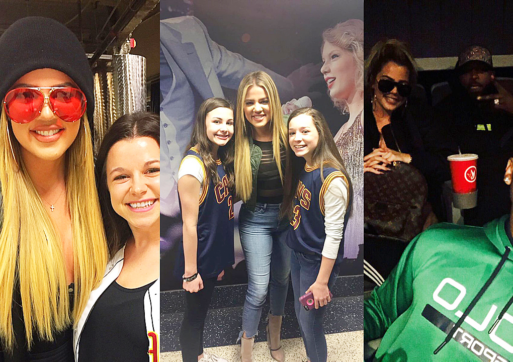Khloé Kardashian at Cavs game and then at movie theatre with Tristan Thompson