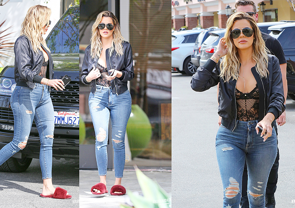 PHOTOS&VIDEO [03/10] Khloe leaves E! Studio and then go to Color Me Mine