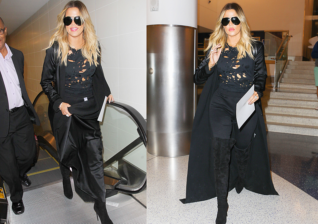 PHOTOS & VIDEO [04/28] Khloe Kardashian arrives at Lax airport to heading Cleveland