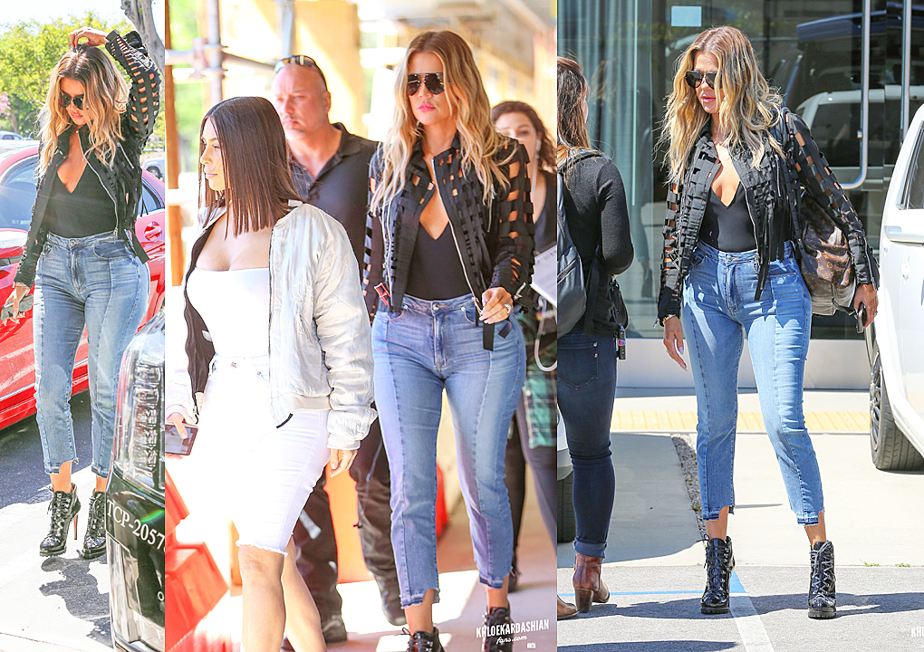 PHOTOS & VIDEO [03/31] Khloe and Kim leaving smashbox studio and then lunch in Beverly Hills
