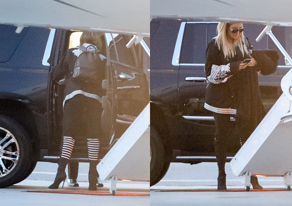 PHOTOS [05/14] Khloé & Kim Kardashian take a private jet