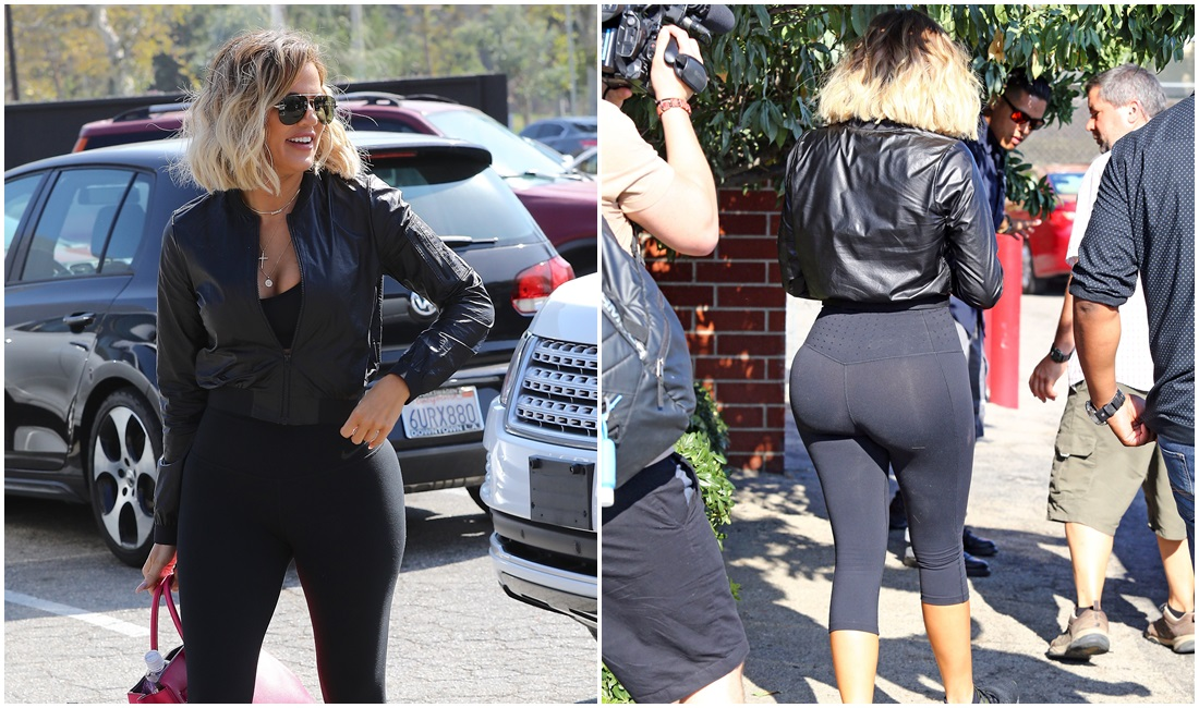 "PHOTOS & VIDEOS  | August 23, 2017 – Khloé Kardashian filming ""What the fit"" with Kevin Hart"