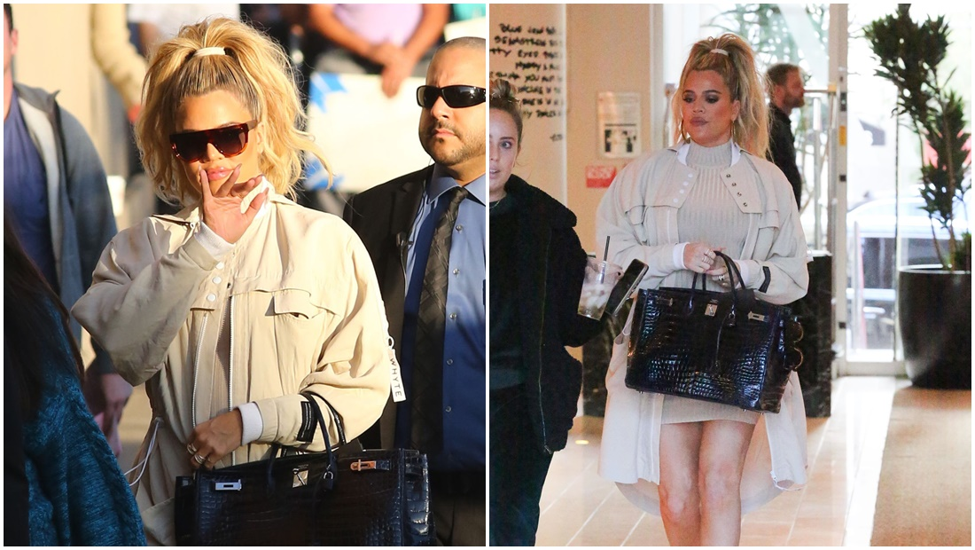 PHOTOS & VIDEOS   January 04, 2018: Khloe at the W Hotel and then arrives at Jimmy Kimmel Studio
